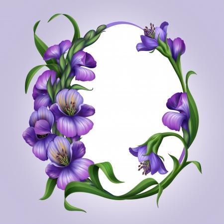 bordure de page: Oeufs de P�ques en forme de cadre avec de belles fleurs de printemps lilas