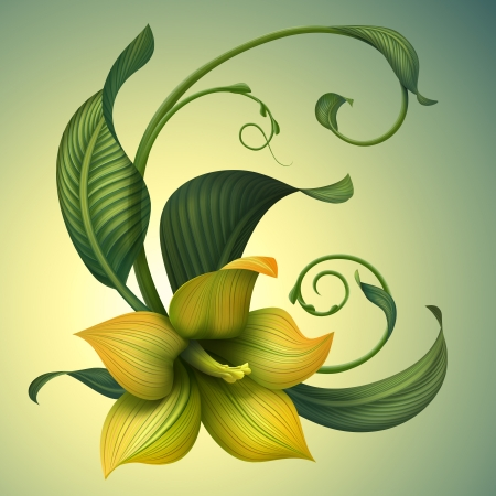 Beautiful fantasy yellow flower with green curly leaves