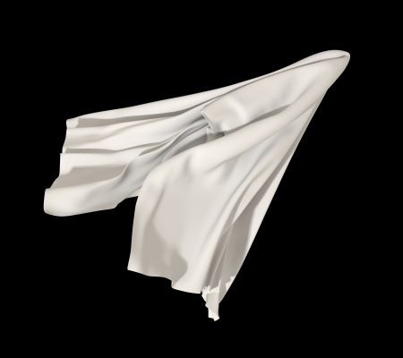 unveil: flying abstract white cloth isolated on black background Stock Photo