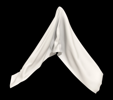 abstract white cloth isolated on black background photo