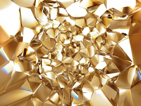 crystal clear: 3d abstract crystal gold background texture Stock Photo