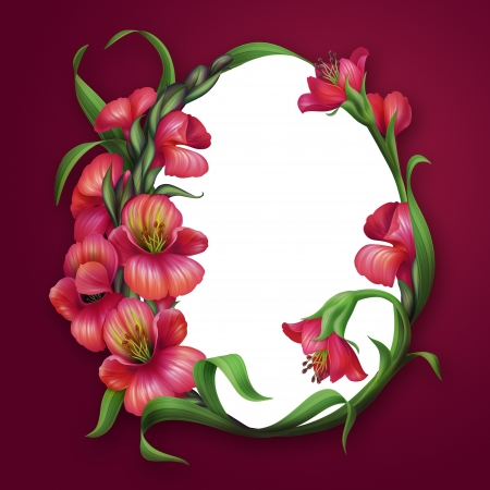 oval egg shaped frame with beautiful red flowers photo