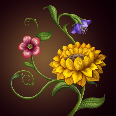 convolvulus: Flowers background with sunflower pattern detail