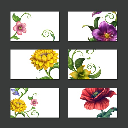 place for text: flower labels and banners business card template collection