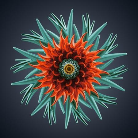 sea urchin: 3d abstract organic flower coral star shape