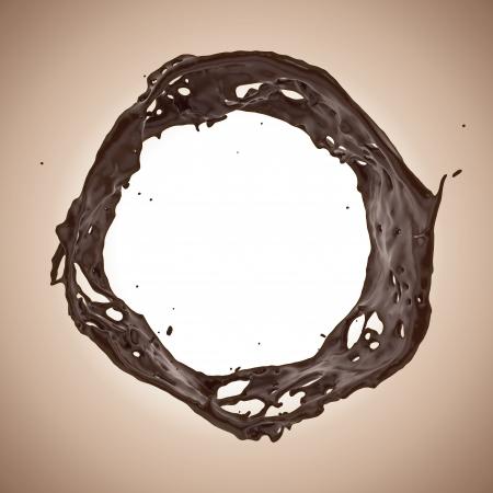 3d liquid chocolate splash round banner photo