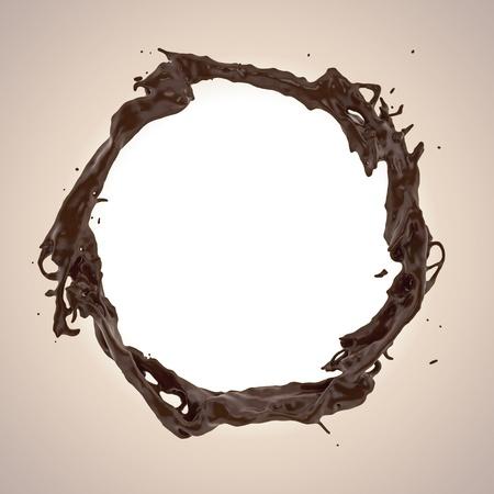 3d round liquid chocolate splashing frame border photo