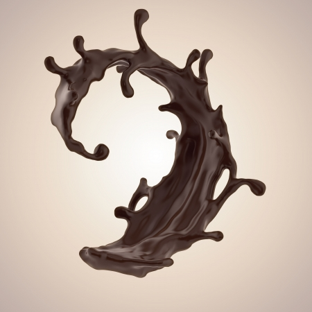 chocolate splash: 3d liquid chocolate splashing element isolated