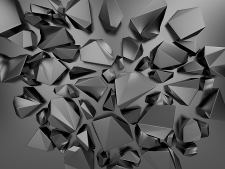 3d black abstract polygonal crystal background photo