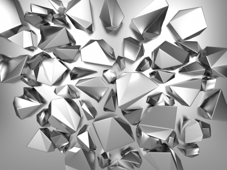 mirror reflection: 3d silver metallic abstract polygonal crystal background Stock Photo