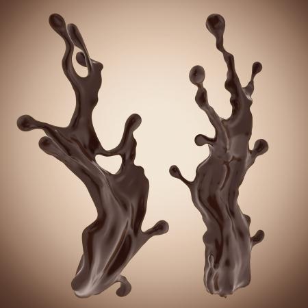 jet stream: Chocolate l?ido 3d salpicaduras elementos de dise?islado