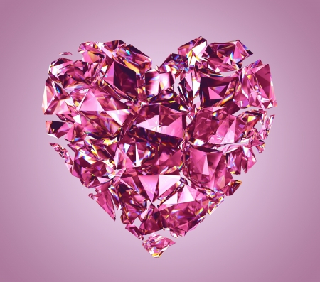 broken pink crystal heart isolated photo