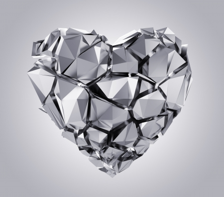 corazon cristal: coraz�n roto de plata Foto de archivo