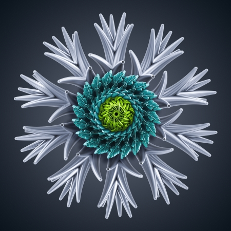 3d abstract snowflake; microbiological organic shape; virus macro; cyber flower or star photo
