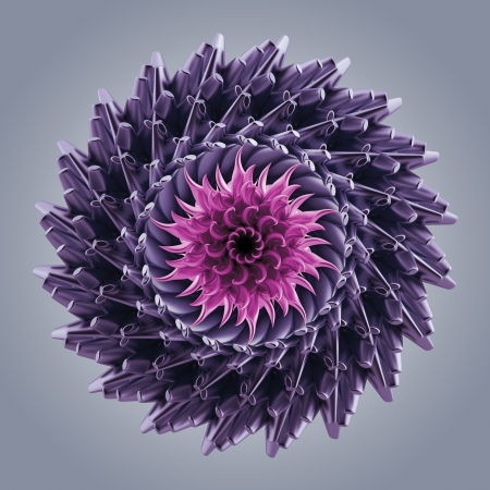 3d abstract color flower or star; microbiological organic shape; virus macro