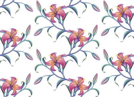 tropical abstract lily seamless pattern isolated on white photo