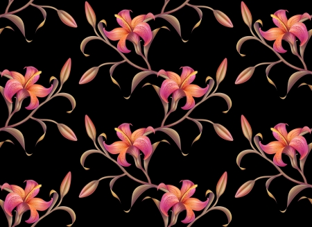 tropical abstract lily seamless pattern isolated on black photo