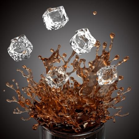 splashing drink, glass, falling ice cubes, isolated on white background photo
