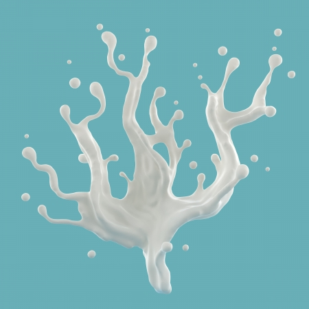yoghurt: 3d abstract white liquid milk fountain splash isolated on blue background