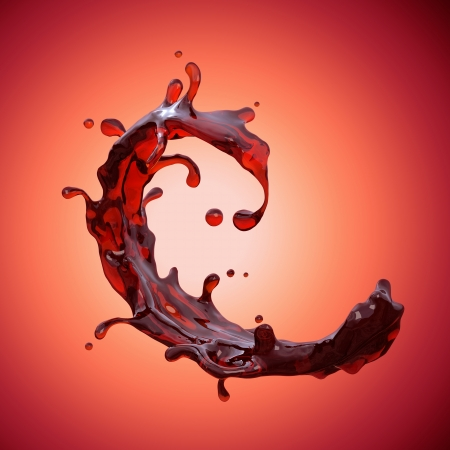 red wine pouring: red wine or juice splash isolated; abstract liquid wave