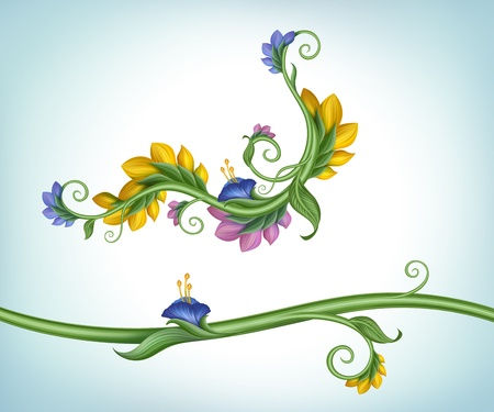 decorative floral border design elements set photo