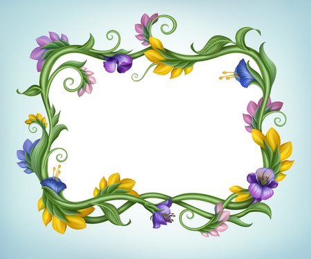 convolvulus: beautiful square spring banner with flower frame border