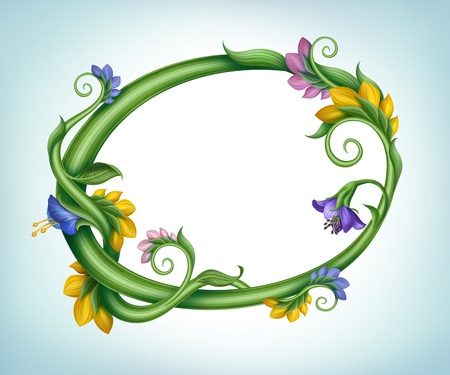 beautiful round summer banner frame with flower and leaves on border photo