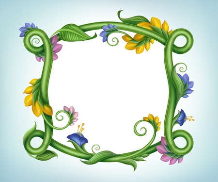beautiful square spring banner with flower frame border photo