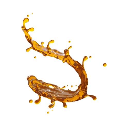 fluid: 3d yellow liquid splash; beer, tea or juice