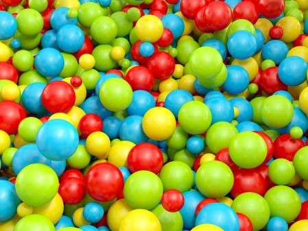 balls deep: 3d color mix different sizes balls background Stock Photo