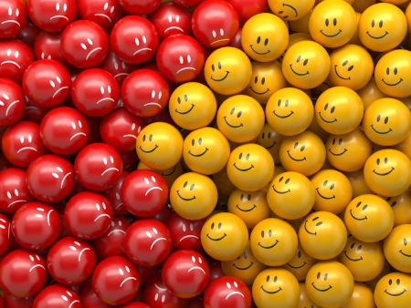enemies: smile balls, abstract business confrontation concept background