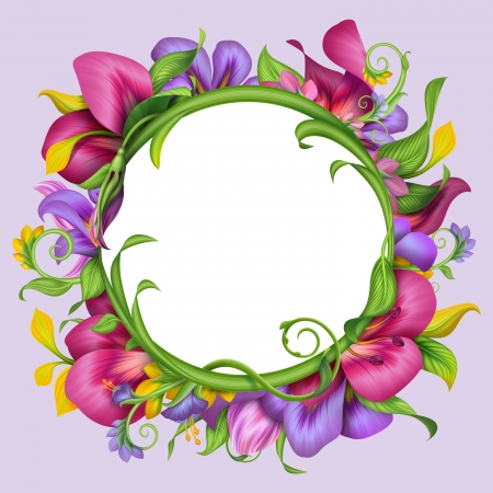 round banner with abstract exotic tropical flower frame photo