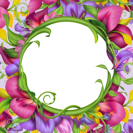 flower border pink: frame with round abstract exotic tropical flower border
