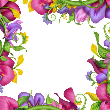 abstract colorful exotic tropical flower mix frame photo