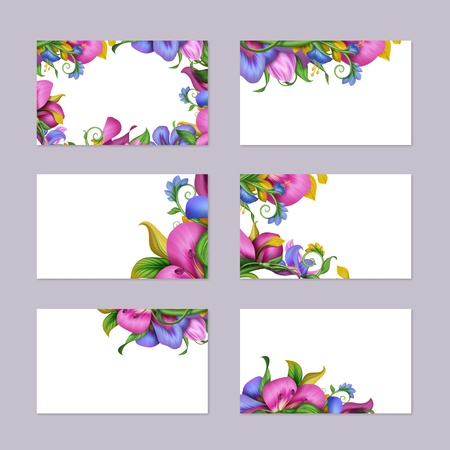 exotic tropical floral card template set photo