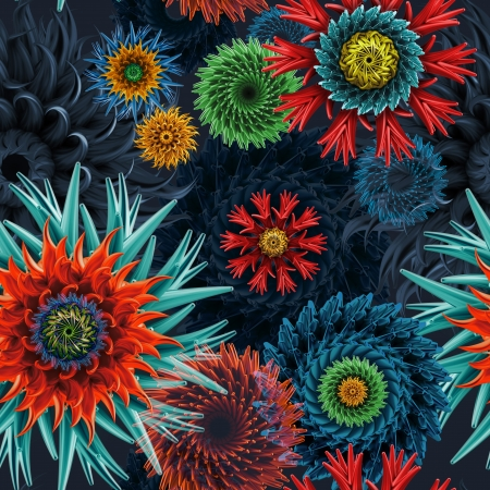 hippy: seamless pattern with 3d abstract flowers and stars, isolated on black background