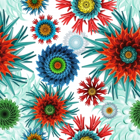 salute: abstract seamless patternwith colorful mix of stars and flowers Stock Photo