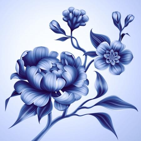 womanish: blue branch with peony rose and sakura flowers Stock Photo