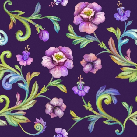 watercolor flower background, seamless floral pattern