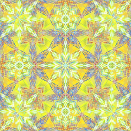 abstract yellow seamless kaleidoscope pattern with stars and flowers