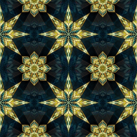 abstract geometric seamless kaleidoscope pattern with gold stars photo