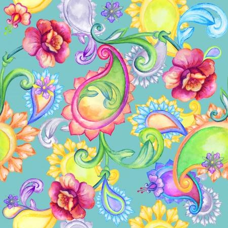 persian: abstract watercolor seamless paisley pattern