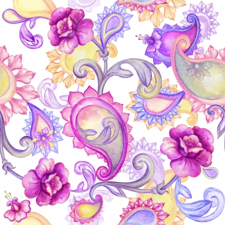 oriental: abstract seamless watercolor floral and paisley pattern Stock Photo