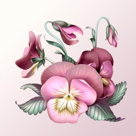ビンテージ ピンク パンジーの花、イラストを束します。