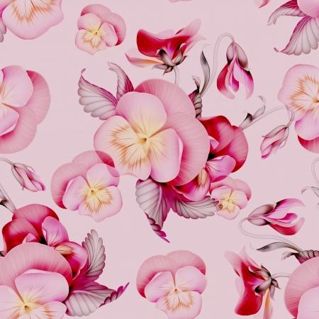 パンジーのピンクの花のシームレスなパターン背景