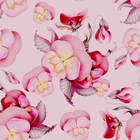 pink pansy flowers seamless pattern background Stock Photo