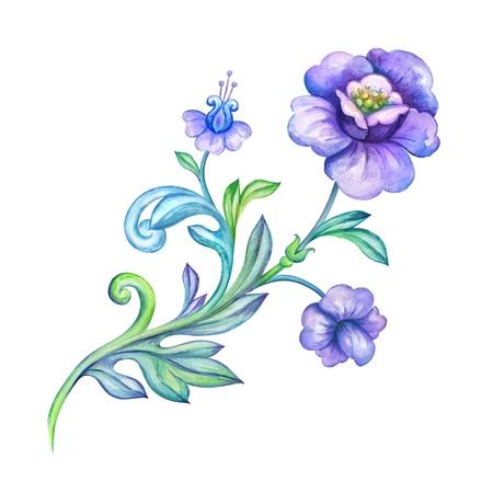 botanic: decorative watercolor flower element design element Stock Photo