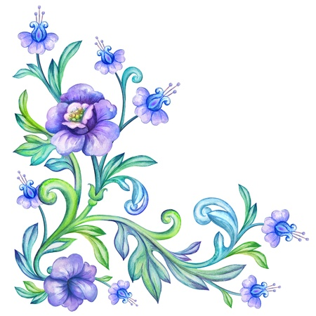 watercolor flower corner decoration photo