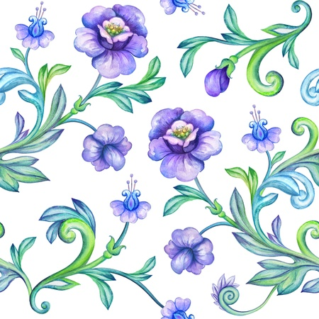 textiles: seamless watercolor floral pattern Stock Photo