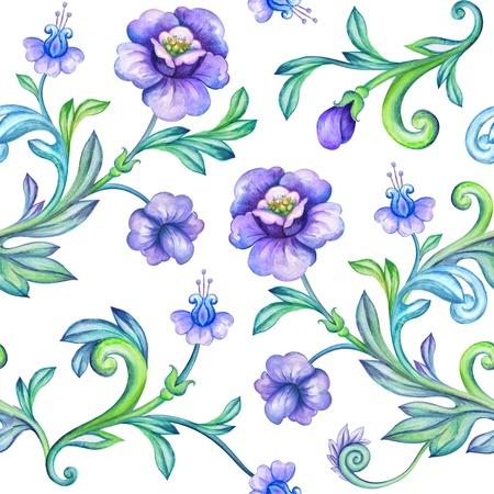 oriental season: seamless watercolor floral pattern Stock Photo
